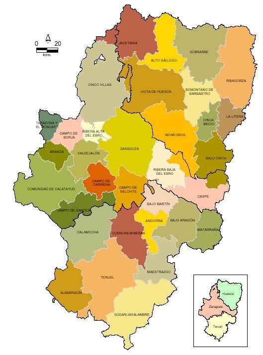 Pueblos Mapa Comarcas De Aragon Eco De Teruel