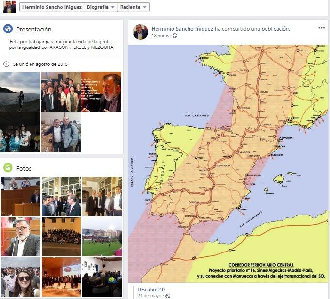 Imagen del Faceboo del diputado socialista , Herminio Sancho