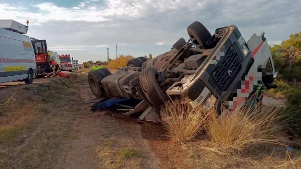 Un camionero herido en accidente de tráfico en las Ventas de Valdealgorfa